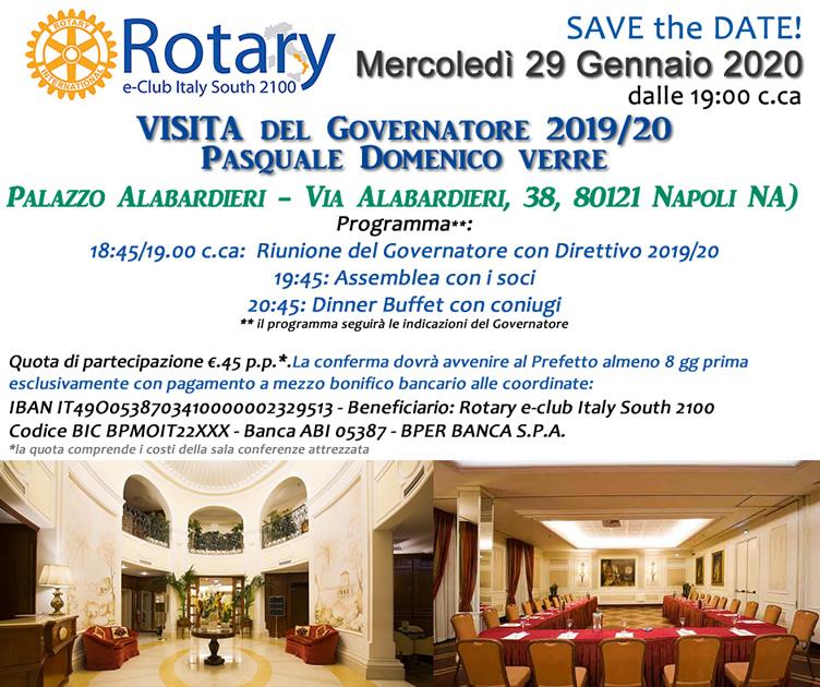 29.1.2020 Visita del Governatore 2019/2020 Pasquale Domenico Verre